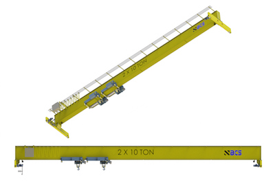 Top Running Single Girder Overhead Crane • Fabricated Box Construction • Dual Hoist