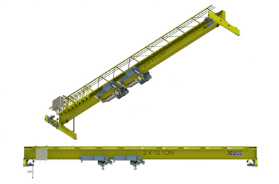 Top Running Single Girder Overhead Crane, Fabricated Box Construction, Dual Hoist
