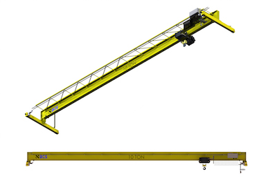 Top Running Single Girder Overhead Crane, Structural Construction, Single Hoist (drawing)