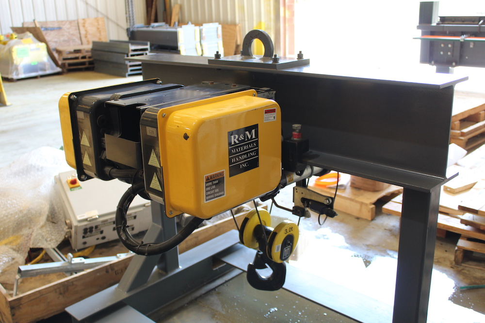 FOR SALE: R&M 3 Ton Capacity (6,000 lbs) Top Running Single Girder (TRSG) Electric Wire Rope Hoist / Trolley